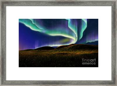 Aurora On Field Framed Print by Atiketta Sangasaeng
