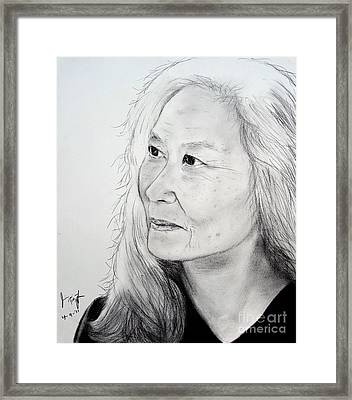 Author And Activist Maxine Hong Kingston Framed Print by Jim Fitzpatrick