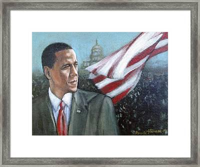 Barack Obama Framed Print by Howard Stroman