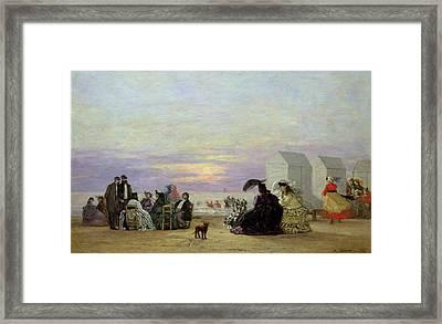 Beach Scene Framed Print by Eugene Louis Boudin
