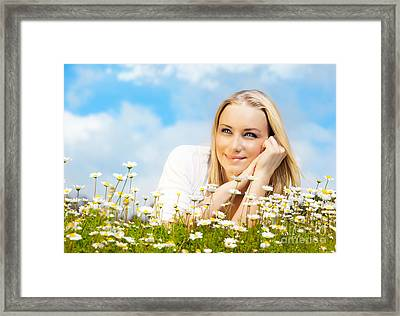 Beautiful Woman Enjoying Daisy Field And Blue Sky Framed Print by Anna Omelchenko