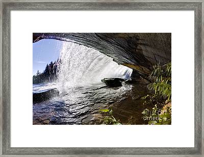 Behind Bridal Veil Falls In Dupont State Park Nc Framed Print by Dustin K Ryan