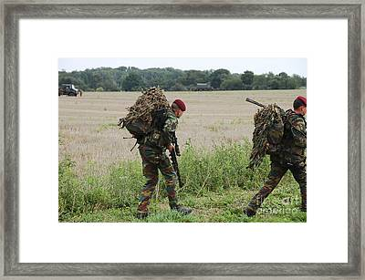 Belgian Paratroopers Red Berets Framed Print by Luc De Jaeger