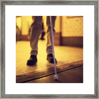 Blind Man Walking Framed Print by Cristina Pedrazzini