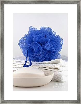 Blue Bath Puff Framed Print by Blink Images