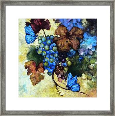 Blue Grapes Framed Print featuring the mixed media Blue Butterflies  by Peggy Wilson