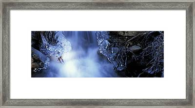 Blue Icy Waterfall Framed Print by Ulrich Kunst And Bettina Scheidulin
