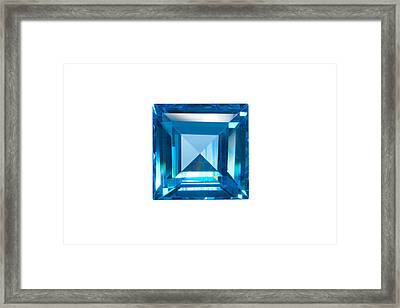 Blue Sapphire Isolated Framed Print by Atiketta Sangasaeng