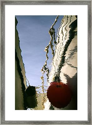 Boat Reflections At Sea Framed Print by Stelios Kleanthous