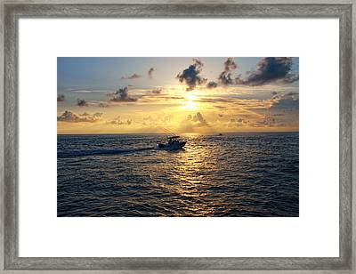 Boating At Sunrise Framed Print by Joe Myeress