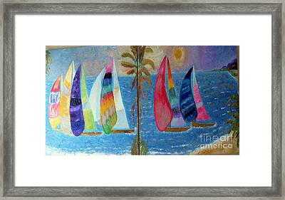 Boats At Sunset Framed Print by Vicky Tarcau