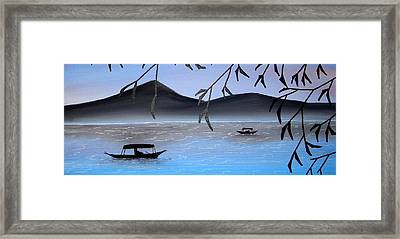 Boats On Lake Framed Print by Edwin Alverio