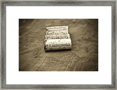 Bordeaux Wine Corks Framed Print by Frank Tschakert