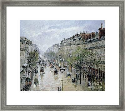 Boulevard Montmartre Framed Print by Camille Pissarro