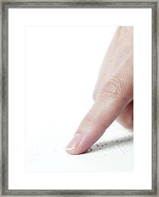 Braille Reading Framed Print by