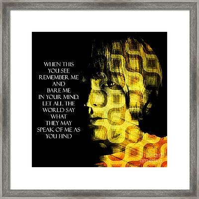 Brian Jones Framed Print by Ankeeta Bansal