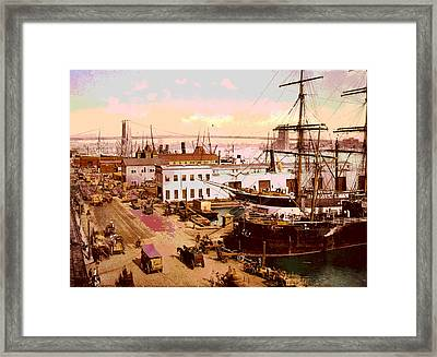 Brooklyn Bridge  Framed Print by Charles  shoup