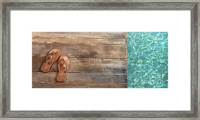 Brown Sandals On Withered Wood  Framed Print by Sandra Cunningham
