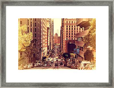 California Street In San Francisco Framed Print by Wingsdomain Art and Photography