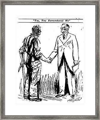 Cartoon: Fdr & Workingmen Framed Print by Granger