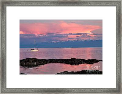 Cattle Point And The Strait Of Juan De Fuca Framed Print by Louise Heusinkveld