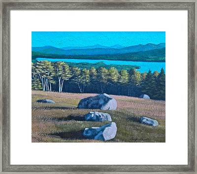 Center Hill Overlooking Webb Lake Framed Print by George Ramos