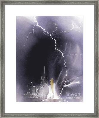 Challenger Struck By Lightning Framed Print by Nasa