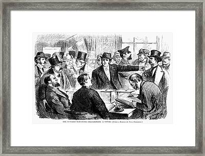 Challenging A Voter, 1872 Framed Print by Granger