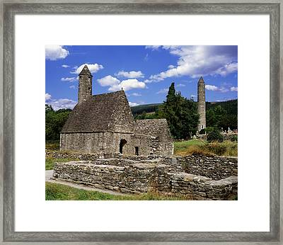 Chapel Of Saint Kevin At Glendalough Framed Print by The Irish Image Collection