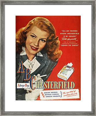 Chesterfield Cigarette Ad Framed Print by Granger