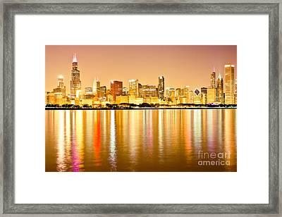 Chicago Skyline At Night Photo Framed Print by Paul Velgos