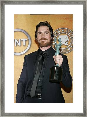 Christian Bale In The Press Room Framed Print by Everett
