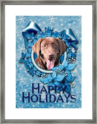 Christmas - Blue Snowflakes Labrador Framed Print by Renae Laughner