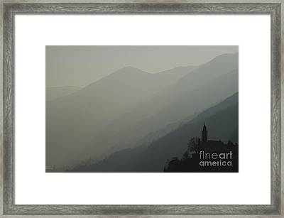 Church On A Foggy Mountain Framed Print by Mats Silvan