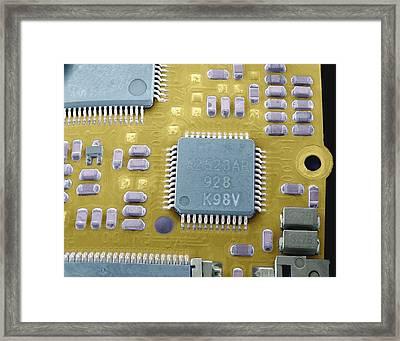Circuit Board Microchip, Sem Framed Print by Steve Gschmeissner