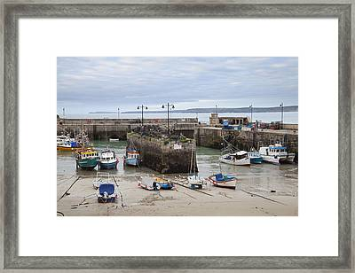 Coastal Town Harbour With Boats Framed Print by Mikhail Lavrenov