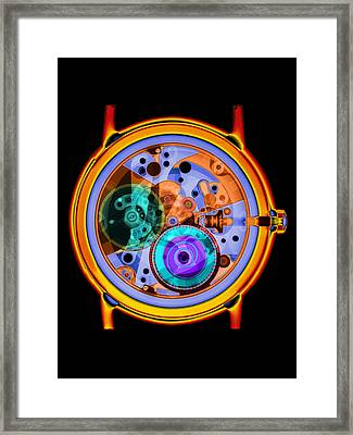 Coloured X-ray Of A 17-jewel Wrist-watch Framed Print by D. Roberts