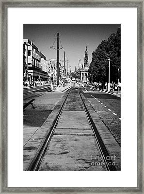 Completed Tram Rails On Princes Street Edinburgh Scotland Uk United Kingdom Framed Print by Joe Fox