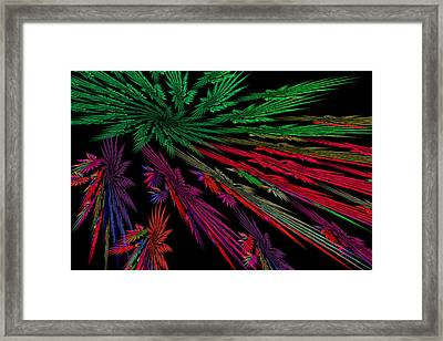 Computer Generated Red Green Abstract Fractal Flame Modern Art Framed Print by Keith Webber Jr