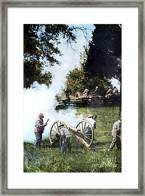 Confederate Soldiers At The Canon  Framed Print by Stephanie Frey