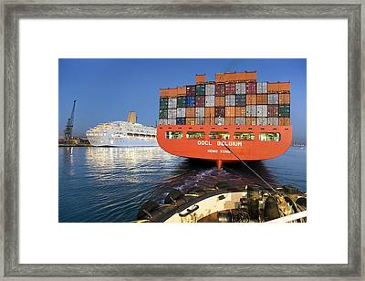 Container Ship Framed Print by Paul Rapson