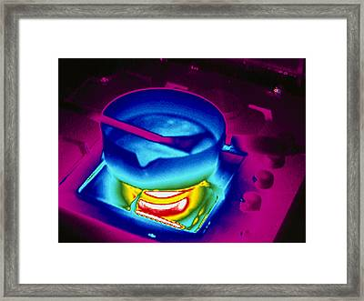 Cooking On A Gas Stove, Thermogram Framed Print by Tony Mcconnell
