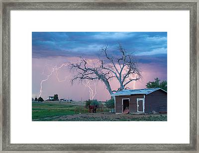 Country Horses Lightning Storm Ne Boulder County Co  76 Framed Print by James BO  Insogna