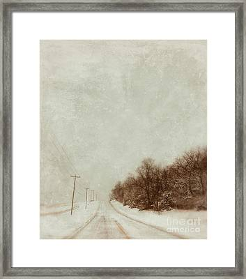 Country Road In Snow Framed Print by Jill Battaglia