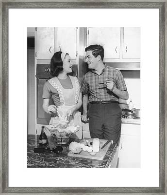 Couple Standing In Kitchen, Smiling, (b&w) Framed Print by George Marks