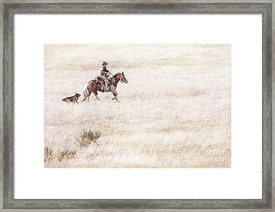 Cowboy And Dog Framed Print by Cindy Singleton