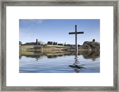 Cross In Water, Bewick, England Framed Print by John Short