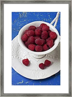 Cup Full Of Raspberries Framed Print by Garry Gay