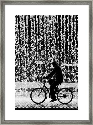 Cycling Silhouette Framed Print by Carlos Caetano