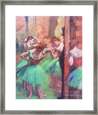 Dancers - Pink And Green Framed Print by Pg Reproductions